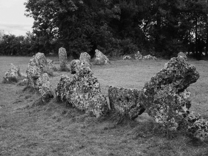 A section of the Rollright Stones, which feature prominently in the murder. Some accounts claim that Walton was killed in the middle of the ancient stone circle--but the stones are 12 miles away from the actual murder site.