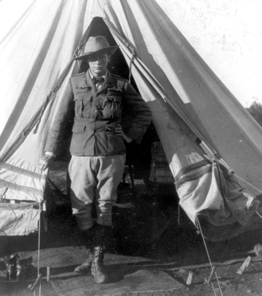 War correspondent Winston Churchill, man of action, in South Africa covering the Boer War, 1900.